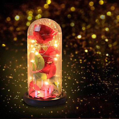 Beauty and The Beast Rose LED Light Glass Dome Gold Foil Flower Lasts Forever