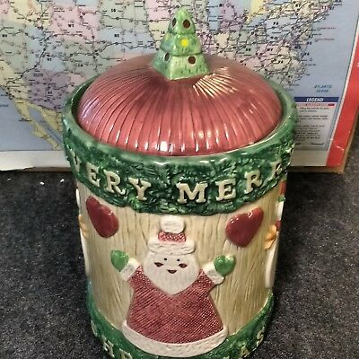 Rare Omnibus Fitz & Floyd Christmas Cookie Jar 1996 A Very Merry Christmas
