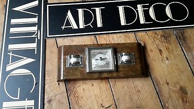 Vintage Antique Art Deco French Chrome Thermometer  Barometer Weather Station