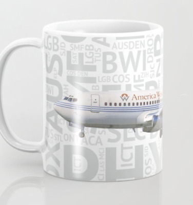 America West Boeing 737-200 With Airport Codes - - Coffee Mug (11oz)
