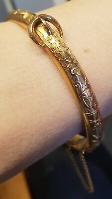 ANTIQUE VICTORIAN ETCHED HINGED BANGLE STAMPED T+H circa 1880