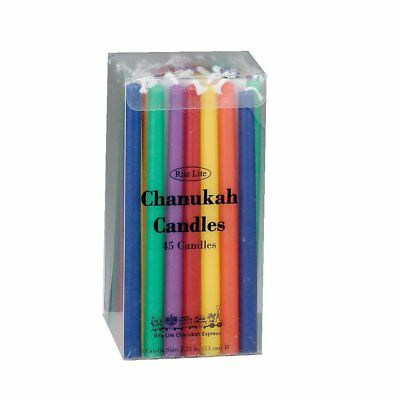 Box of 45 Coloured Chanukah Candles Rite Lite Colorful Assorted Multi-Colored