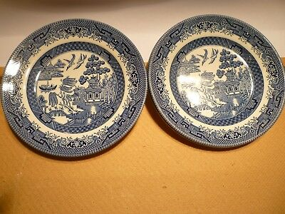 Willow Plates Blue White Pattern Plate Set 4 Churchill England