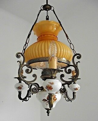 Lovely Mid Century French Country Style Lantern 3 Arm Chandelier Glass Shade.711