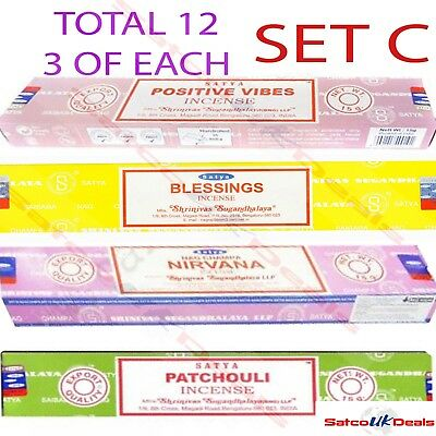 NAG CHAMPA SET C Genuine INSENCE Variety Box Incense 12 x 15g Satya Sai Baba UK