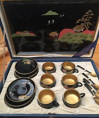 Antique Lacquerware Japanese Hand Painted Wood Tea Set With Spoons & UNUSED Tray
