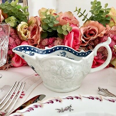 Rare early Worcester sauce boat, embossed roses and fuchsias, ca 1770