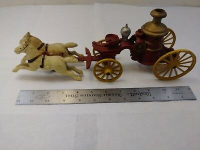 Vintage Cast Iron Hubley Pumper Fire Truck Horse Drawn OFFERS OPEN!
