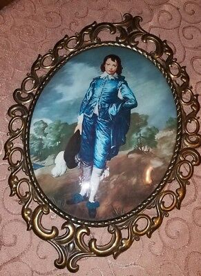 BEAUTIFUL VTG ITALY Large Solid Brass ORNATE Convex Glass Frame~BLUE BOY!