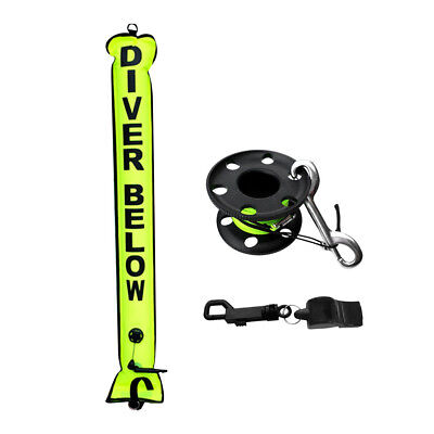 Underwater Scuba Diving Safety Kit - SMB Signal Tube + 30m Reel + Whistle