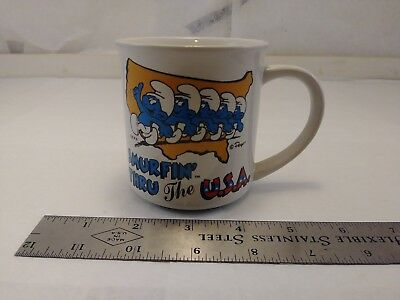 Vintage 1982 Smurfin' Thru The USA Smurfs Mug Wallace Berrie & Co OFFERS OPEN