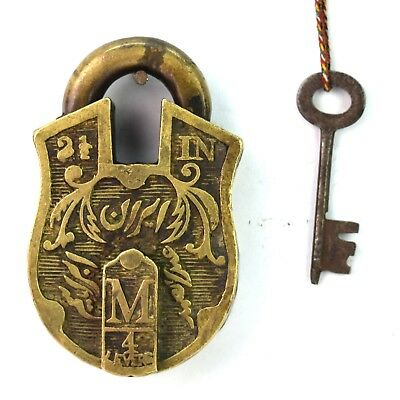 Islamic Calligraphy Vintage Collectible Brass made Padlock With 1 Key. G2-340 US