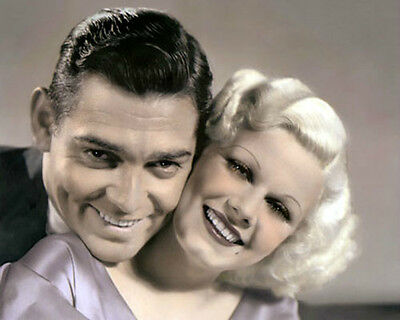 "CLARK GABLE JEAN HARLOW HOLD YOUR MAN 1933 ACTORS 8x10"" HAND COLOR TINTED PHOTO"