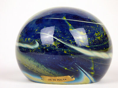 Early Mdina glass magnum paperweight with label Michael Harris Era Malta 60s 70s