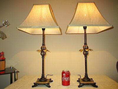 Tall Pair Of Vintage Pineapple Empire Table Lamps With Vintage Silk Shades