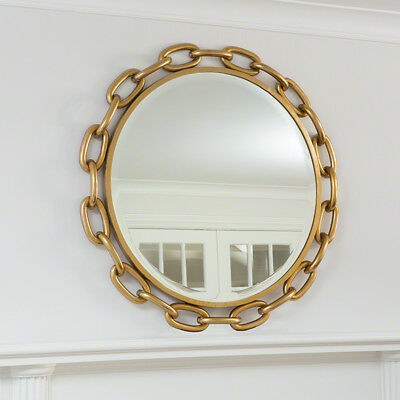 """Luxe Large Round Iron Chain Link Wall Mirror 