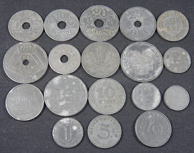 Wwii Zinc Coins; 18 Diff Type Germany, Japan, France, Belgium, Netherlands, Etc.