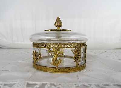 Fine Old Antique French Empire Gilt Bronze Ormolu & Crystal Covered Box Casket