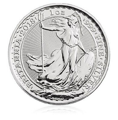 2018 Silver Britannia 1oz bullion coin - uncirculated in capsule 999 fine purity
