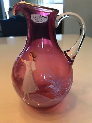 Mary Gregory FENTON Vintage Cranberry Glass pitcher handle White Painted Gold