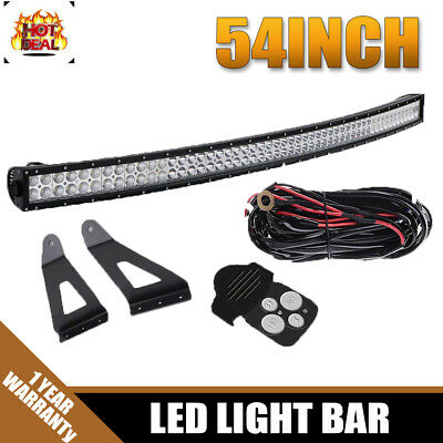 54Inch Curved Cree LED Light Bar Offroad Flood Spot Combo For SUV ATV Ford Jeep