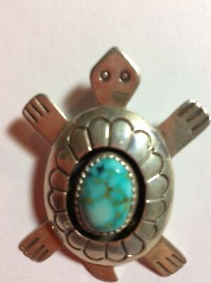 Native American Sterling Silver Turquoise Turtle Pendant Artist Jackson  New