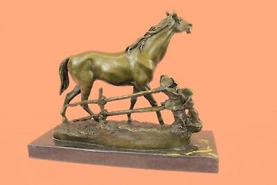 Solid Bronze P.J. Mene Horse Head Sculpture Bust Marble Base Stable Art Deco