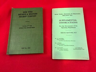 New York Ontario Western 1913 Rules & 1927 Special Instructions