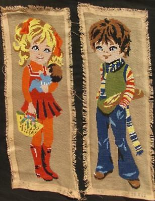 "2 Vintage completed cotton Needlepoint A boy and a girl 20.6""x7"" each"