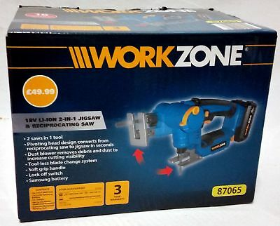 Workzone 2in1 Jigsaw & Reciprocating Saw 18v Boxed