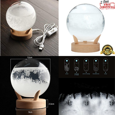 Storm Glass Weather Predictor Decorative Barometer Globe With Large Wood Base