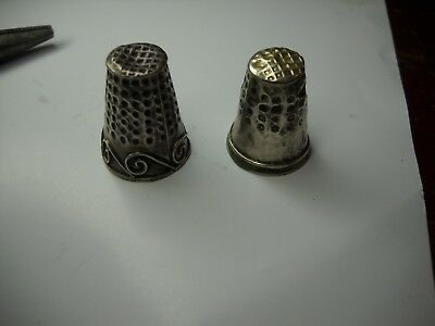 2 Vintage Sterling Silver Thimble one on Left marked JMA Mexico