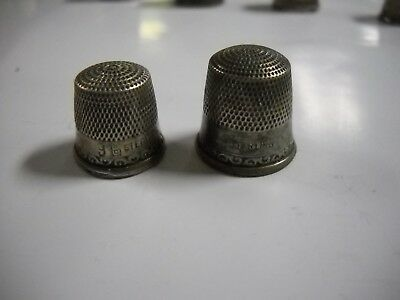 "2 Vintage Stern Bros Sterling Silver Thimbles  1/2"" and 5/8"""