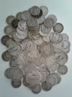 Silver coins $12.00 face value barber & liberty quarters barber & mercury dimes