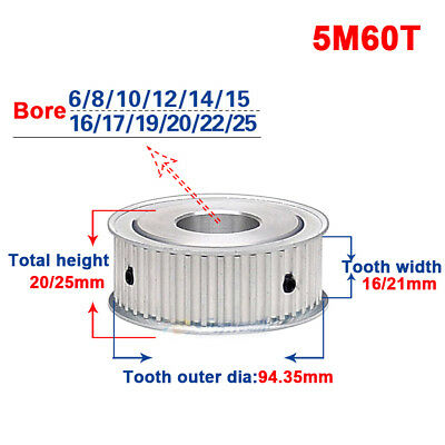 5M 60T Timing Belt Drive Pulley 5mm Pitch 20mm Bore For 15mm Width Belt x1Pcs