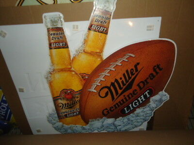 Older Miller Mgd Football Large Metal Beer Bar Sign Man Cave Super Nice