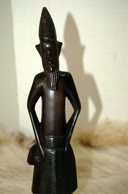 """Vintage Hand Carved Wood African Tribal Man Figurine 12 3/8"""" Tall"""