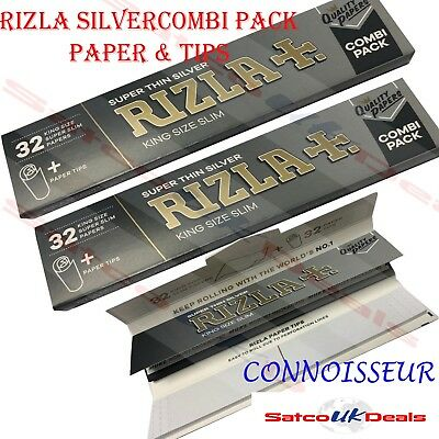 RIZLA SUPER THIN SILVER COMBI PACK Kingsize Slim Cigarette Smoking Rolling Paper