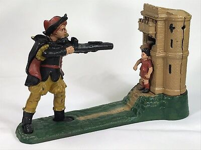 Vintage Heavy Cast Iron Mechanical Bank The Book of Knowledge 237-1 Man Shooting