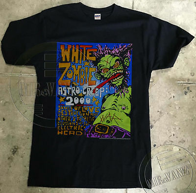 1995 Vintage White Zombie Astro Creep 2 Sided 2000 Tour T-Shirt REPRINT