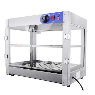2-Tier Commercial Countertop Pizza Food Warmer Heated Display Cabinet 61x49x38cm