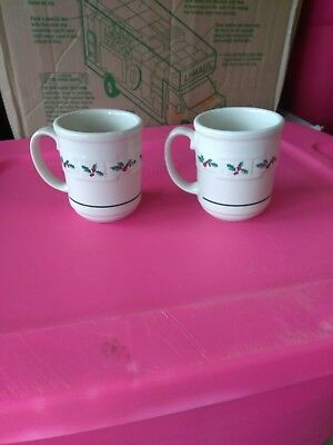 2 Longaberger Pottery Christmas Holly Berry Woven Tradition Coffee Mugs