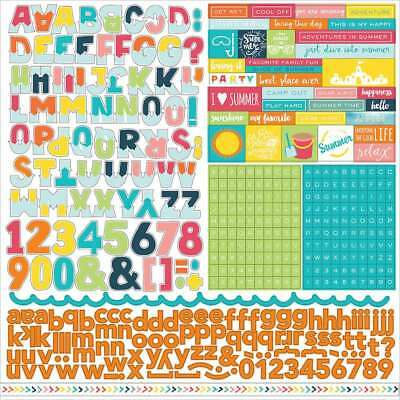 """Summer Party Cardstock Stickers 12""""X12"""" Alphabet 083832210113"""