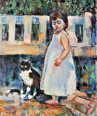 """""""Girl & Cat"""" by Kinnison Smith -Original Canvas Art Signed Oil Panting,"""