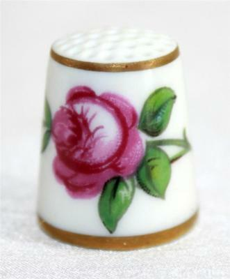 Vintage Made in Denmark Collectible Souvenir Thimble Hand Painted Floral