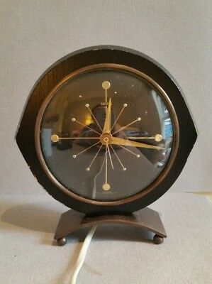 Stylish English Smiths Sectric Electric Desk Clock Sunburst Design (50s) working