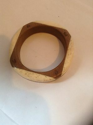 VICTORIAN 1800s SAILOR MADE TROPICAL WOOD & BONE NAVIGATION BANGLE - ATTRACTIVE!