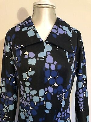 Vintage Tersuisse 60s Patterned Dress With Collar 8 10 12 14