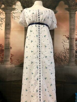 Regency Style White Broderie Anglaise Gown With Blue Floral Motif