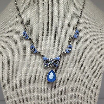 Anne Koplik Swarovski Crystal Blue Necklace NWT